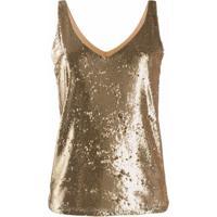 Blanca Vita Blusa Com Paetês - Dourado