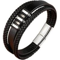 Pulseira Artestore Bracelete Em Couro Masculino - Masculino-Preto