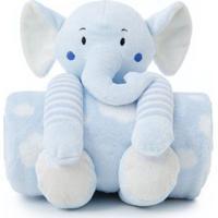 Manta Bebe Naninha Loani Elefante Azul - Transparente - Dafiti
