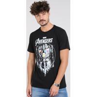 Camiseta Masculina Os Vingadores Manga Curta Gola Careca Preta