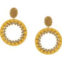 Oscar De La Renta Sun-Shaped Hoop Earrings - Amarelo