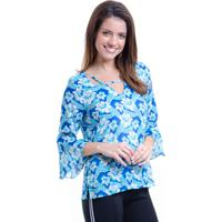 Blusa 101 Resort Wear Estrela Decote V Em Viscose Azul