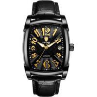Relógio Tevise 9013 Masculino Automático Pulseira De Couro - Preto E Dourado