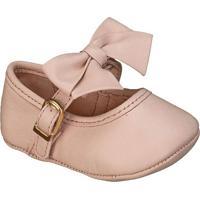 Sapato Boneca Em Couro Com Laã§O- Rosa Claro- Babykimey