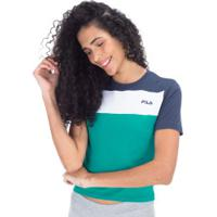 Blusa Cropped Fila Mia - Feminina - Verde/Azul Esc