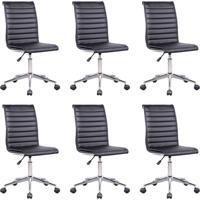 Conjunto Com 6 Cadeiras De Escritório Diretor Giratórias Marilyn Preto