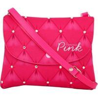 Bolsa Infantil Princesa Pink Estampa Matelassê Strass Tipo Carteira - Feminino-Pink