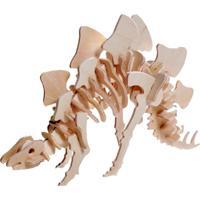 Quebra Cabeça Kuga Desafio 3D - Estegossauro - Madeira - Jp221 - Amarelo - Kanui