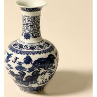 Vaso Decorativo De Porcelana Azul E Branco Rothfuss