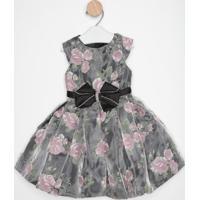 Vestido Floral Com Laço & Pedraria- Preto & Rosa- Pepetit Cherie