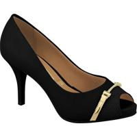 Peep Toe Com Recorte- Preto & Dourado- Salto: 9Cm