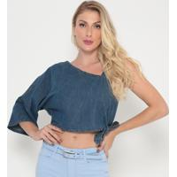 Blusa Jeans Ombro Único- Azul- My Favorite Thingsmy Favorite Things
