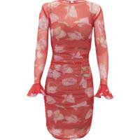 Vestido Kika Simonsen De Renda Floral Estampa Vermelho