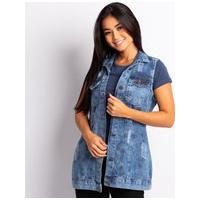 Colete Longo Feminino Jeans Jeans