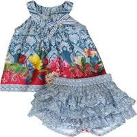 Conjunto Bata E Short-Saia - Feminino-Azul