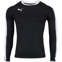Camisa Manga Longa Puma Liga Jersey Ls - Masculina - Preto Branco 4f7fd74894352