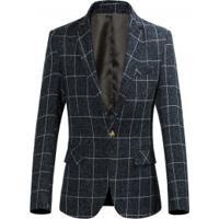 Blazer Masculino Elegante Slim Estampa Xadrez - Azul Escuro