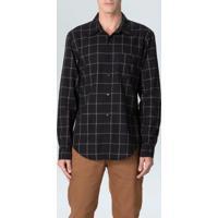 Camisa Cotton Linen Riva Ml-Preto/ Vermelho/Offwhite - P