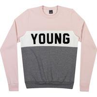 Blusã£O Com Recortes- Ros㪠& Cinza- Teen- Youngyoung