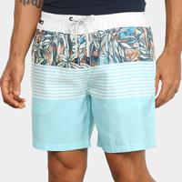 Shorts Jab Estampado Listrado Faixa Floral Masculino - Masculino-Azul Claro