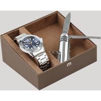 Kit De Relógio Analógico Mondaine Masculino + Canivete - 83460G0Mvne1K Prateado - Único