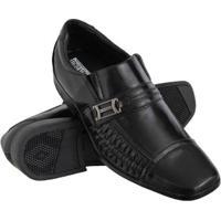 Sapato Social Euro Flex Couro Conforto Macio Leve Resistente Masculino - Masculino-Preto+Cinza