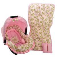 Conjunto Capa Para Bebê Conforto Com Acolchoado Extra E Capa De Carrinho - Alan Pierre Baby - Ursinho Rosa