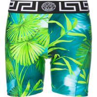 Versace Leaf Print Cycling Shorts - Verde