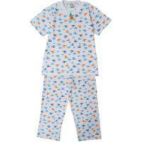 Pijama Infantil Babié Masculino Longo Helicóptero Em Malha Branco
