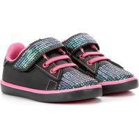Tênis Infantil Kurz Paetês Velcro Feminino - Feminino-Preto+Pink