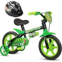 Bicicleta Aro 12 Infantil Masculina Assento Macio Black 12 Com Capacete Nathor - Unissex