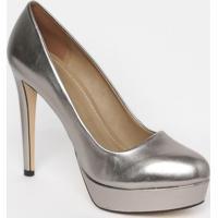 Sapato Meia Pata Em Couro - Prateado- Salto: 13,5Cmmya Haas
