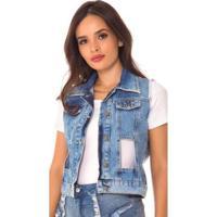 Colete Jeans Express Vazado - Feminino