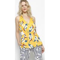 Blusa Frente Única Com Folhagens - Amarela & Branca Aha