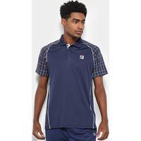 Camisa Polo Fila Cinci Square Masculina - Masculino-Marinho+Branco