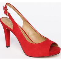 Peep Toe Em Couro Acamurã§Ado - Vermelha - Salto: 10,Carrano