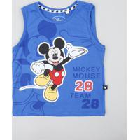 Regata Infantil Mickey Com Recorte Gola Careca Azul Royal