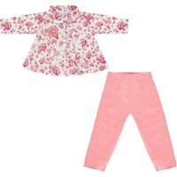Conjunto Padroeira Baby Florata Rosa - Rosa - Menina - Dafiti