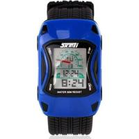 Relógio Infantil Skmei Digital Masculino - Masculino-Azul+Preto