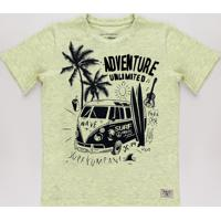 "Camiseta Infantil Tropical ""Adventure Unlimited"" Manga Curta Amarela Claro"