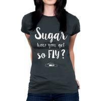 Camiseta Baby Look Hshop Sugar Cinza
