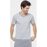 Pijama Curto Lupo Algodão Listrado - Masculino-Mescla