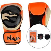 Kit De Boxe Naja: Bandagem + Protetor Bucal + Luvas De Boxe Colors - 10 Oz - Adulto - Laranja/Branco
