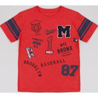 Camiseta Infantil Baseball Manga Curta Vermelha