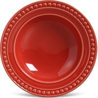 Prato Fundo Atenas Cerâmica 6 Peças Vermelho Porto Brasil