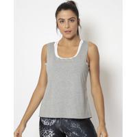 Regata Lisa Com Vazados- Cinza- Physical Fitnessphysical Fitness