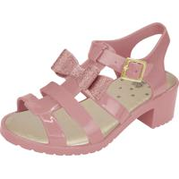 Sandália Flib Infantil Salto Laço Com Glitter Rosa