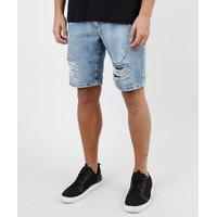 Bermuda Jeans Masculina Slim Destroyed Azul Médio