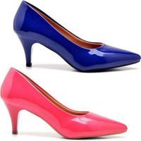 Kit Scarpin Ellas Online Salto Baixo Verniz 2 Pares - Feminino-Rosa+Azul