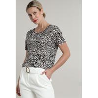 Blusa Feminina Ampla Estampada Animal Print Onça Com Strass Curta Decote Redondo Branca